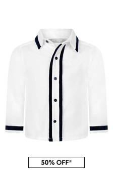 Boys White Cotton With Navy Details Shirt