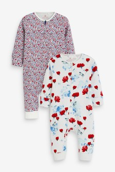 Red 2 Pack Floral Zip Sleepsuits (0mths-3yrs)