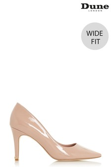 Dune London Wide Fit Anna Cappuccino Patent PU Croc Effect Court Shoes