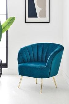 Opulent Velvet Dark Teal Stella Accent Chair With Gold Finish Legs