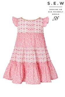Monsoon Pink S.E.W. Baby Elsa Print Dress