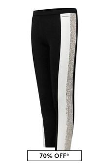 Girls Black/Silver Sequin Milano Leggings