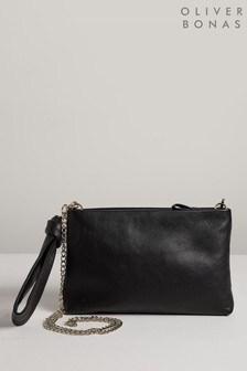 Oliver Bonas Black Immie Knot Leather Clutch Bag