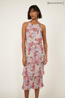 Warehouse Black Sophia Floral Pleated Dress