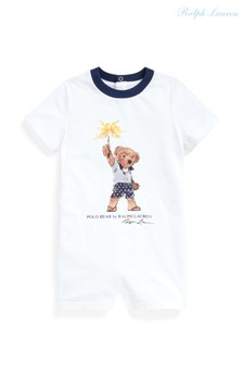 Ralph Lauren White Bear With Firework Romper