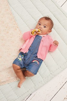 Denim Embroidered Dungarees And Bodysuit Set (0mths-2yrs)