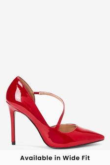 Red Two Part Point Court Shoes