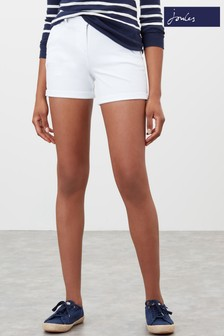 Joules White Mid Thigh Length Chino Shorts