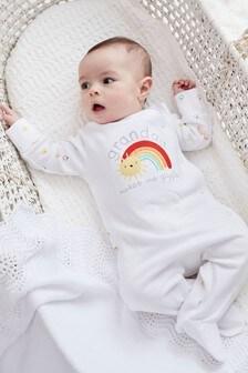 White Grandad Rainbow Sleepsuit (0-18mths)