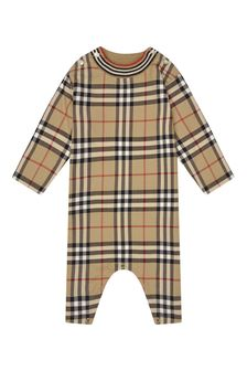 Burberry Kids Baby Beige Cotton All In One
