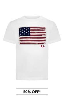 Baby Boys White Cotton Flag T-Shirt