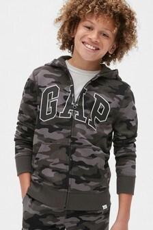 Gap Grey Camo Logo Full Zip Hoody