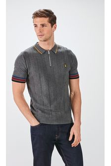 Grey Textured Tipped Premium Zip Polo