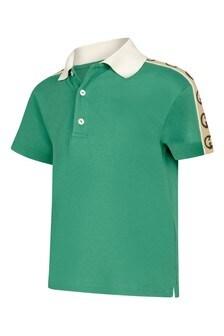 Baby Boys Green Piquet Trim Logo Polo Top