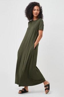 Khaki Column Maxi T-Shirt Dress