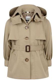 Beige Girls Beige Cotton Trench Coat