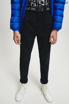 Calvin Klein Black Logo Belted Tapered Chinos