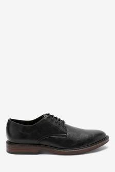 Black Contrast Sole Derby Shoes