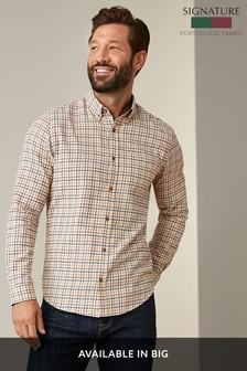 Ecru Regular Fit Brushed Flannel Check Long Sleeve Shirt