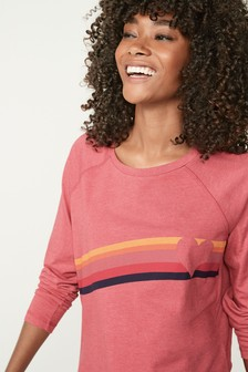 Pink Heart Stripe Raglan Long Sleeve Top