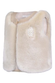Baby Girls Ivory Faux Fur Gilet