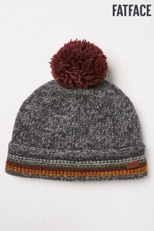 FatFace Grey Striped Turn-Up Beanie