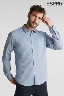 Esprit Mens Blue Long Sleeved Structured Woven Shirt
