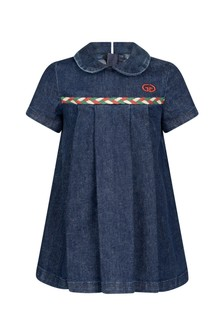 Baby Girls Blue Denim Embroidered Dress