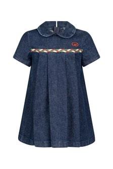 فستان دنيم أزرق مطرزللبنات البيبي