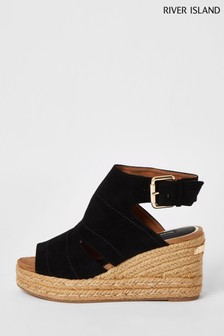 River Island Black Covered Wedges