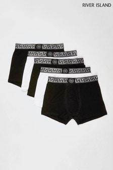 River Island Black Greek Key Waistband Trunks Five Pack