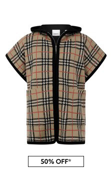 Girls Beige Vintage Check Wool Poncho