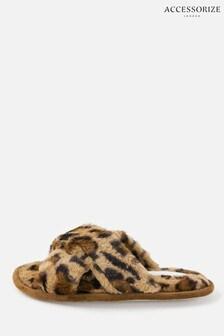Accessorize Leopard Fluffy Leopard Mule Slippers