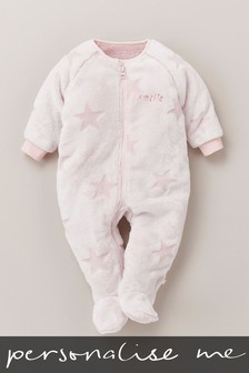 Personalised Star Fleece Sleepsuit