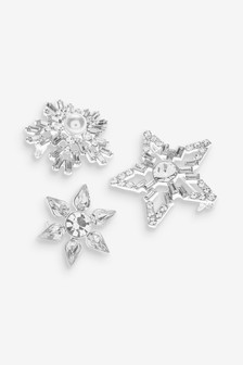 Silver Tone Crystal Effect Star Brooch 3 Pack