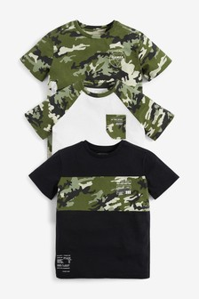 Camouflage 3 Pack T-Shirts (3-16yrs)