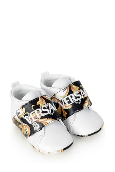 Baby Boys White, Black & Gold Leather Trainers