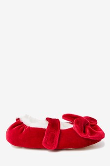 Red Ballet Bow Slippers (Younger)