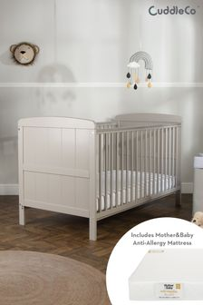 CuddleCo Juliet CotBed with Mother & Baby Rose Gold Spung Mattress Dove Grey