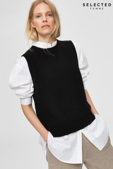 Selected Femme Black Jos Knitted Vest