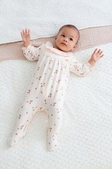Pink Strawberry Velour Sleepsuit (0mths-3yrs)