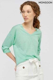 Monsoon Green Tilly Tab Sleeve Linen Blend Jumper