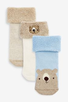 Oatmeal Towelling Socks Three Pack (Younger)
