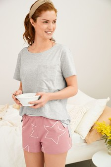 Pink Star Cotton Short Set