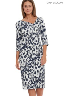 Gina Bacconi Blue Hayla Floral Stretch Jacquard Dress