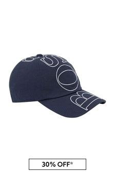 قبعة قطن أزرق داكن أولادي منBOSS