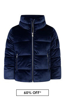 Girls Navy Velour Jacket