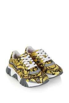 Boys Black And Gold Trainers