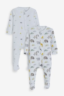 Ecru 2 Pack Safari Zip Sleepsuit (0mths-2yrs)