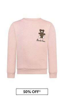 Pink Girls Pink Cotton Bear Sweater